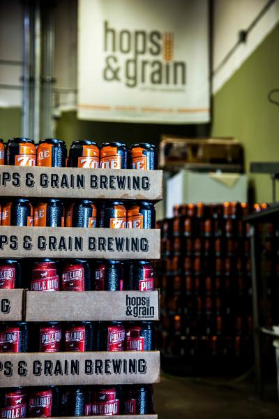 Hops & Grain Brewery craft beer cans.