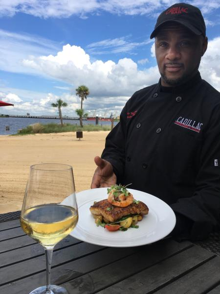 Chef Kevin Thompson with Bronzed Snapper