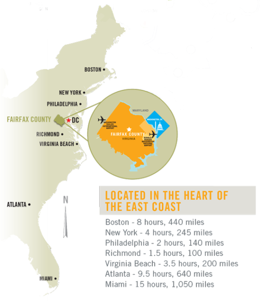 East Coast Map - Fairfax County Locator