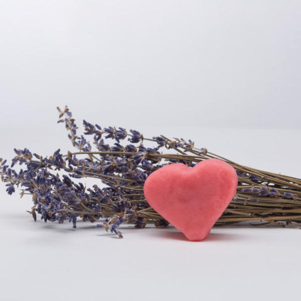 Heart shaped Lavendo with bouquet of lavender from Lavenlair Farms
