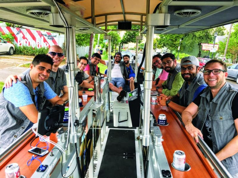 group of people on hipside peddler beer bike tour in austin texas