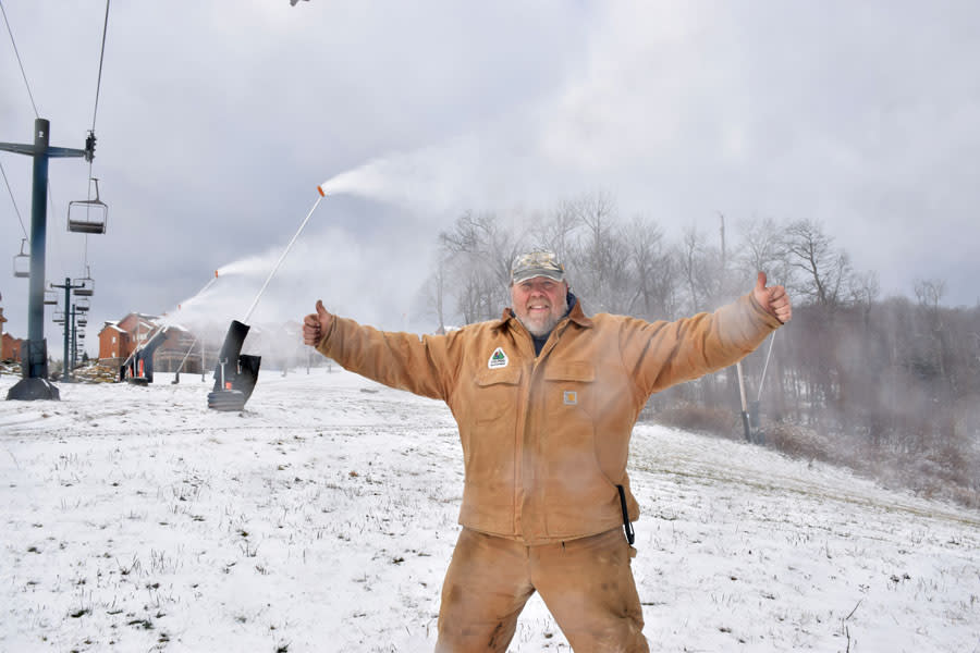 Mountain Manager Kirk Russel gives two thumbs up for snowmaking