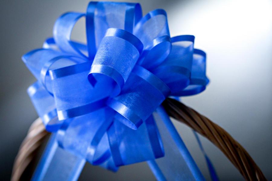 Blue bow on gift basket