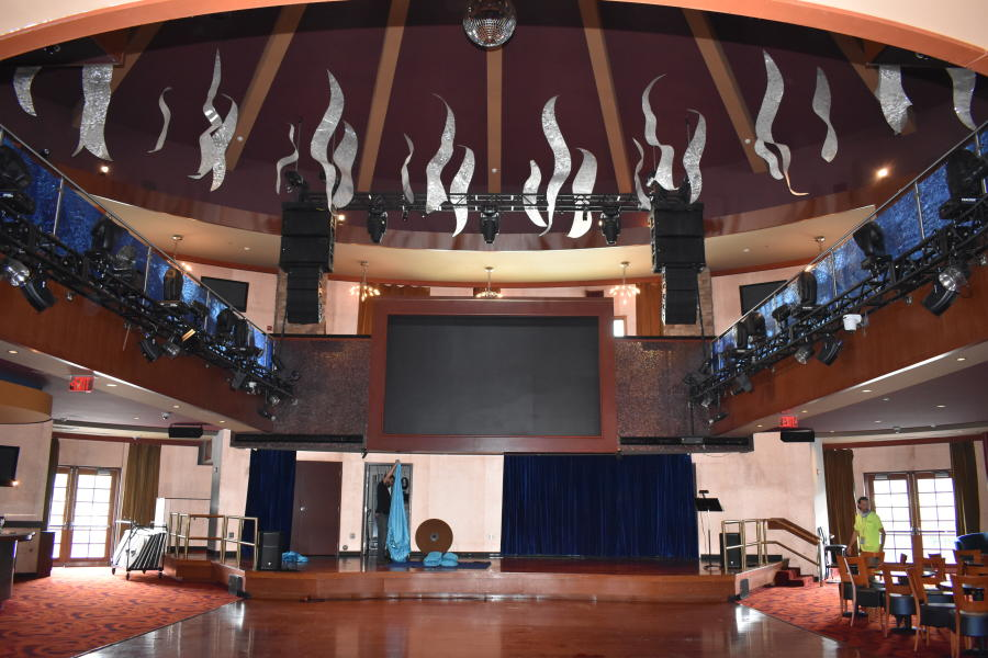 Interior shot of empty stage at Vapor Nightclub in saratoga