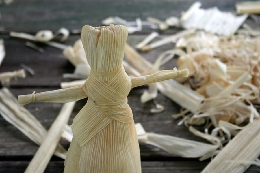 St. Andrew's Rectory corn husk doll making