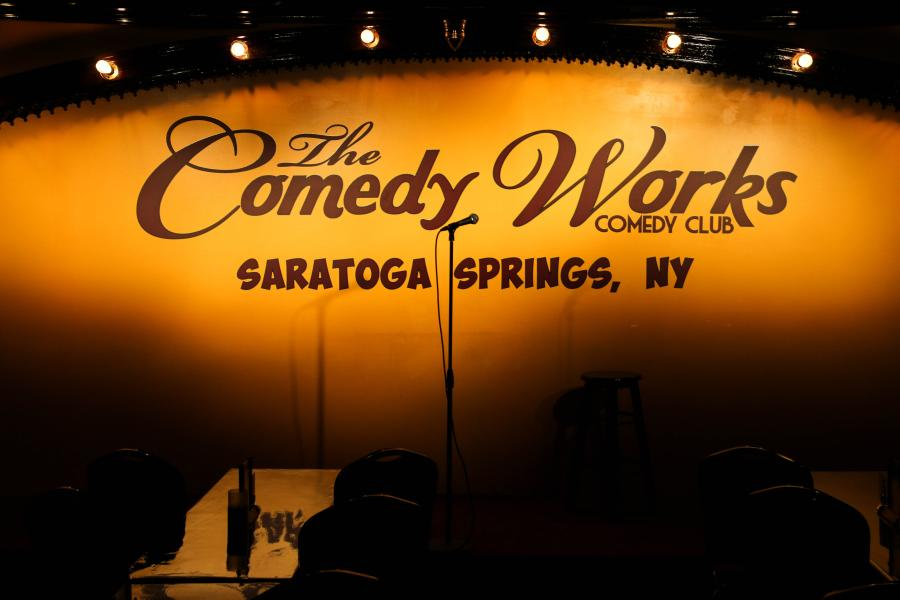 The COmedy Works Stage in Saratoga Springs NY