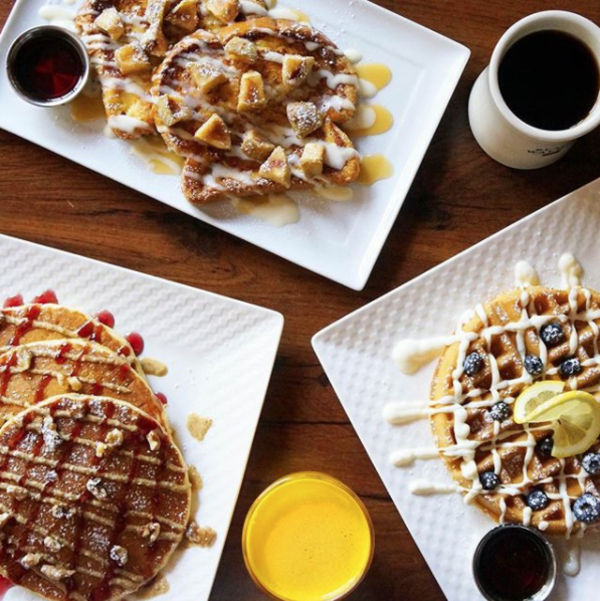 Pancakes, waffles, and French toasts from Black Walnut Cafe served with a variety of toppings.