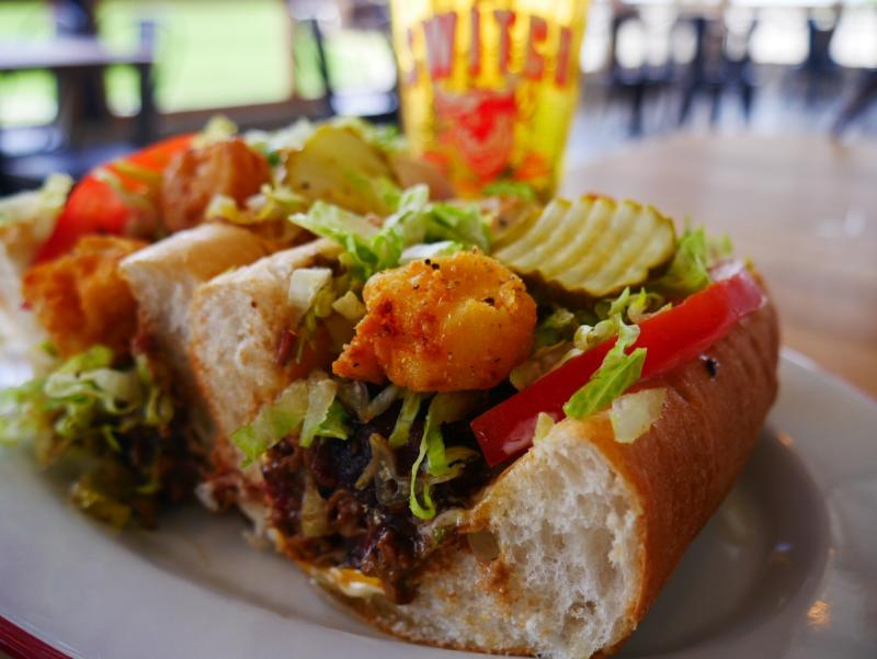 Po Boy Sandwich from The Switch bbq in dripping springs texas