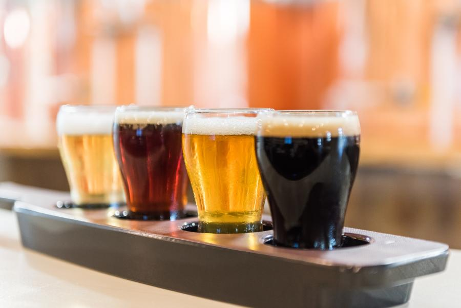 A craft beer flight on a bar in Fort Lauderdale
