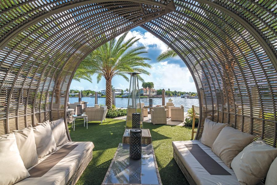 Covered outdoor seating at Shooters Waterfront in Fort Lauderdale