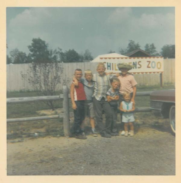 A photo taken by the blogger in the summer of 1966 showing her three brothers, two-year-old sister and two cousins from Arkansas at a visit to the new Fort Wayne Children's Zoo.