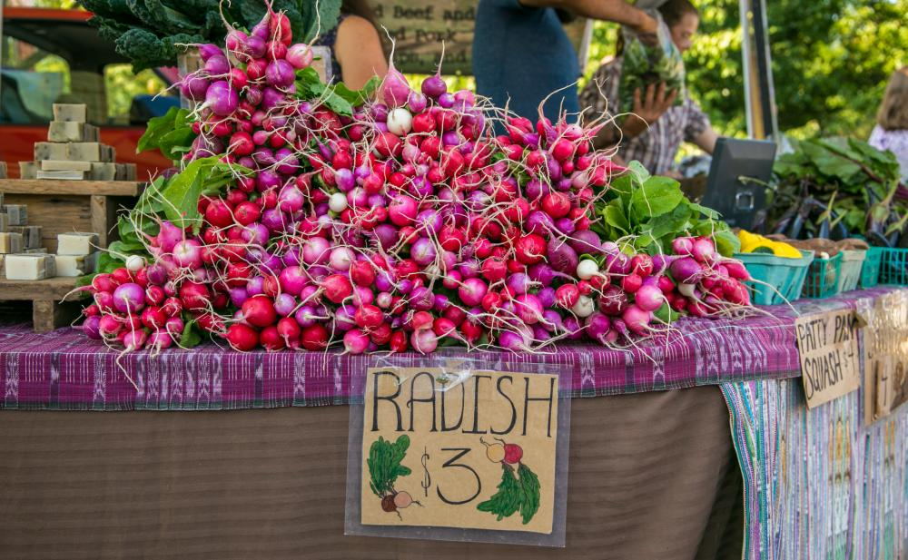 Radishes for sale at the Tuesday Market in Bloomington
