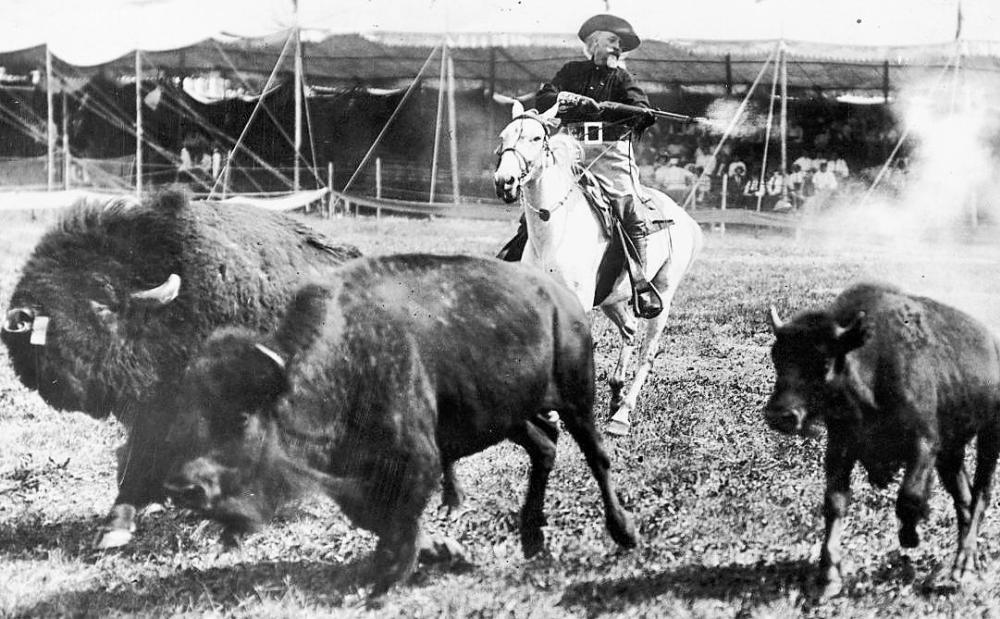 Buffalo Bill Cody riding in Wild West Show