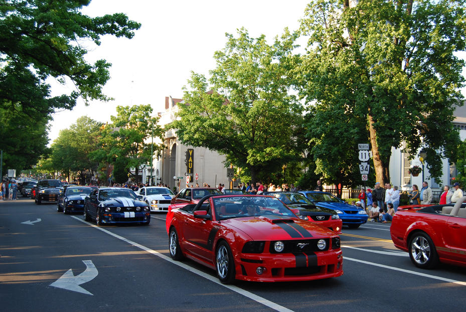 Parade of Ford Mustangs