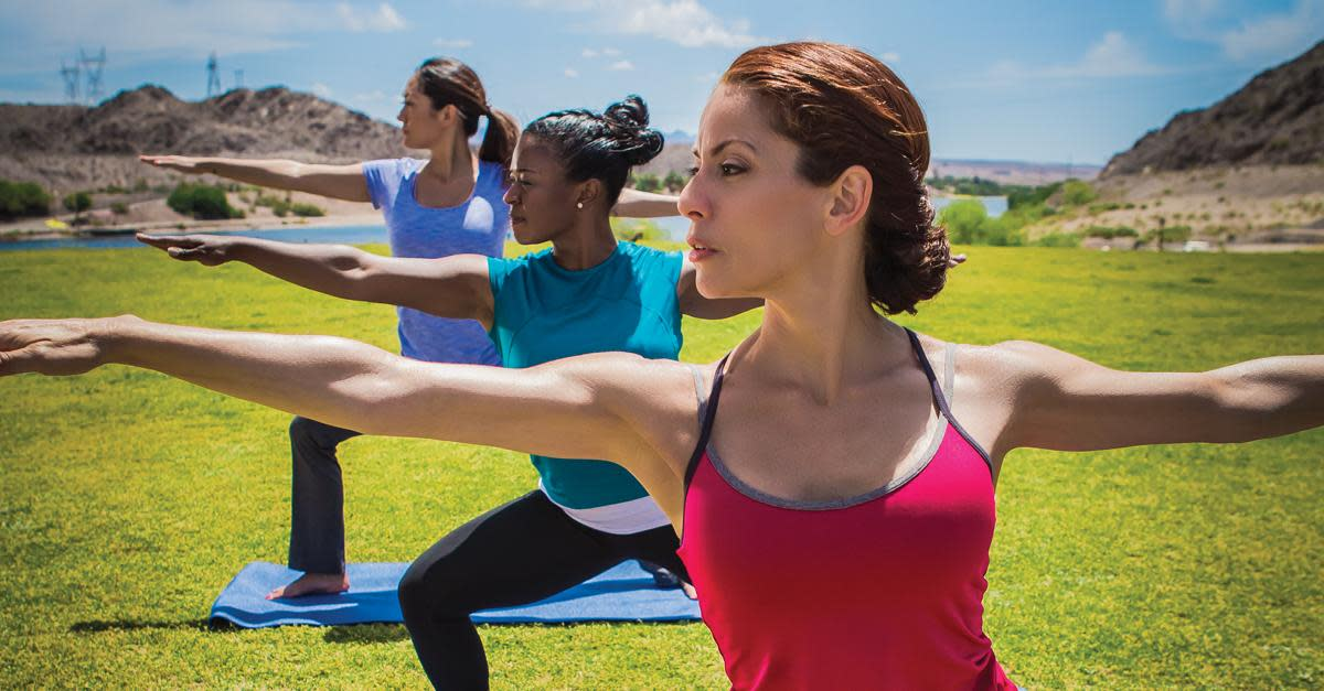Ladies in an outdoor yoga class in Laughlin, NV