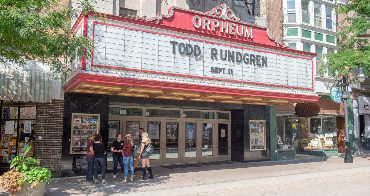 An exterior photo of the Orpheum Theater in Madison, WI during the Stroll Down State experience