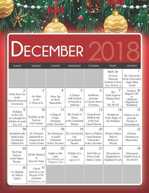December Holiday Event Calendar