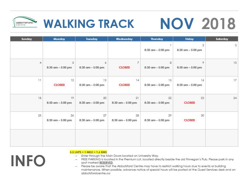 November Walking Track Schedule