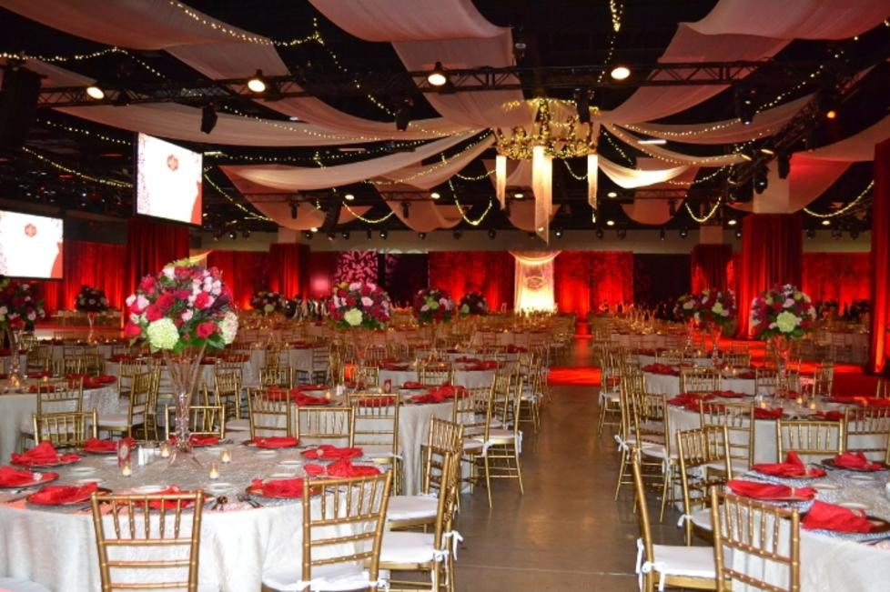 Exhibit Hall A set up for a Gala