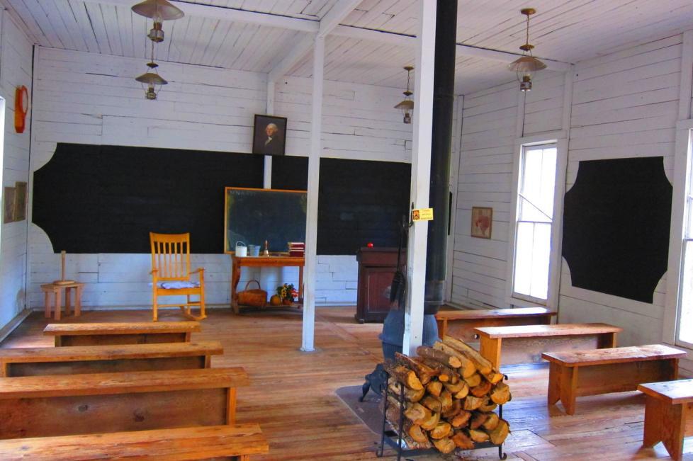 Interior of Marine Schoolhouse at Log Cabin Village