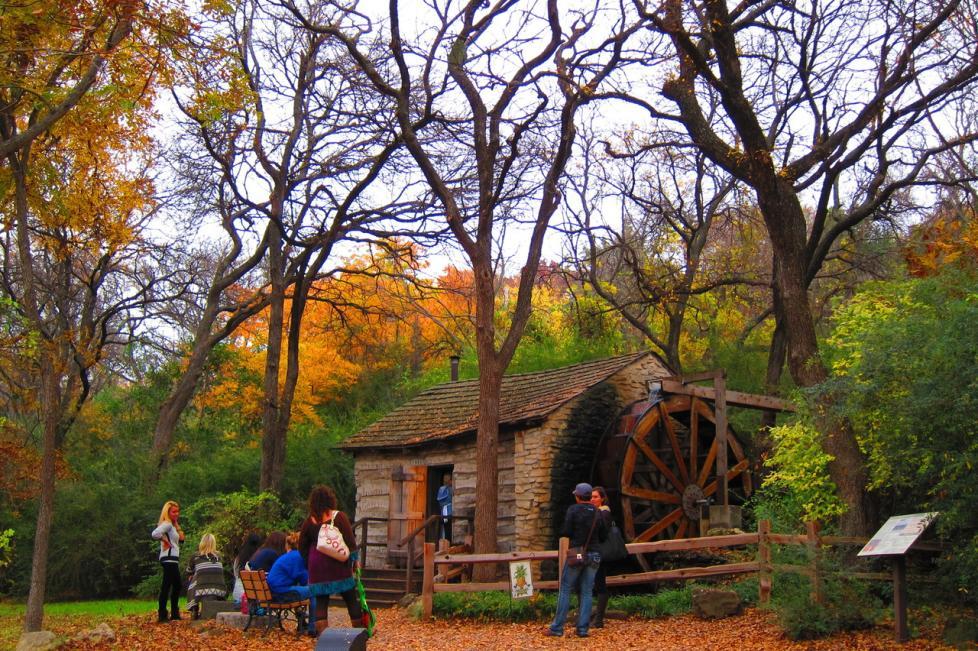 Log Cabin Village Shaw Cabin in the Fall