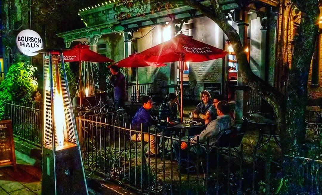 Bourbon Haus 1841 at night