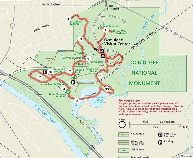 Map of Ocmulgee National Monument