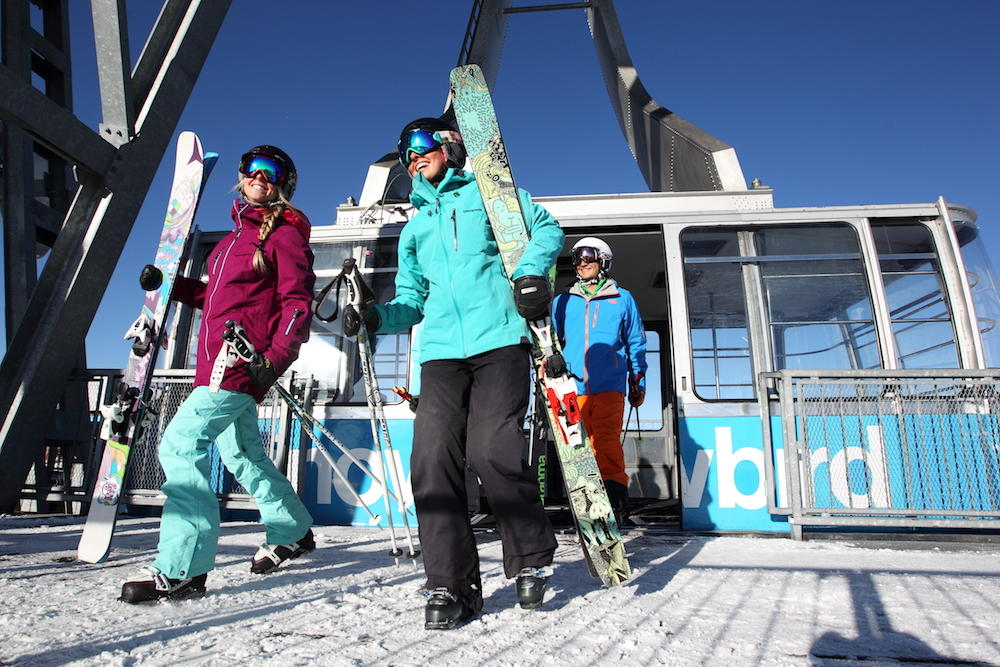 Skiers Finishing the Day at Snowbird