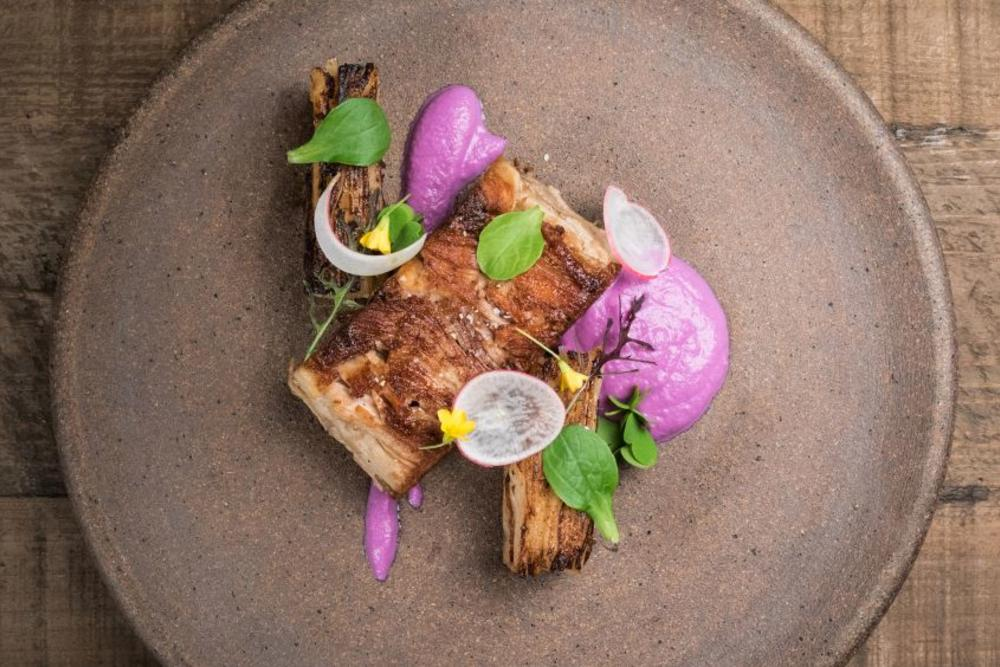 The pork pressé with turnip pavé, red cabbage purée, and radish at Table X'