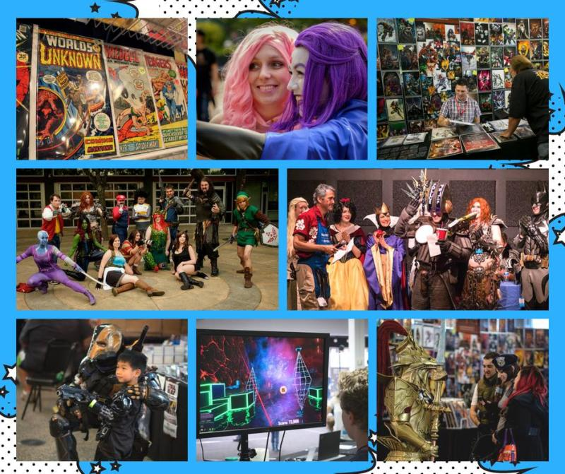 Collage of cosplayers and comic books from convention