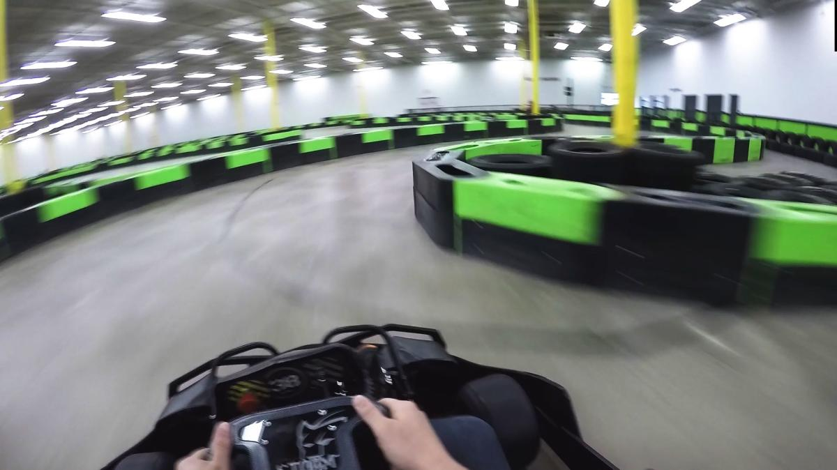 Throwing the kart into the corner at Speed Raceway Horsham