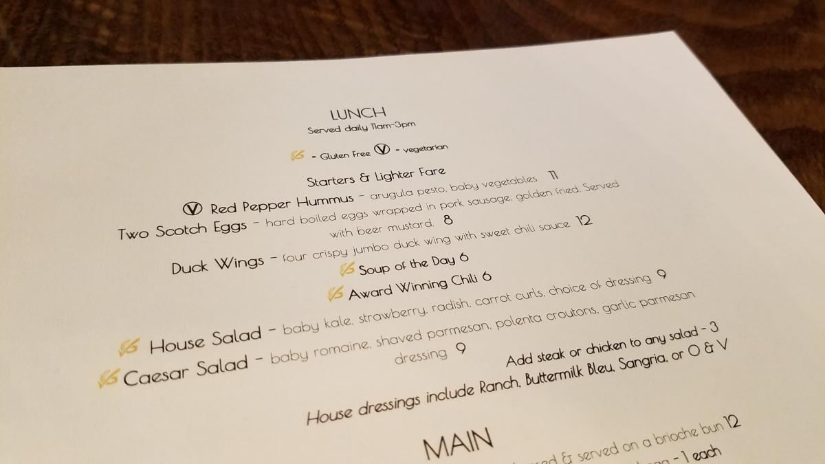 Lunch Menu at 21 North