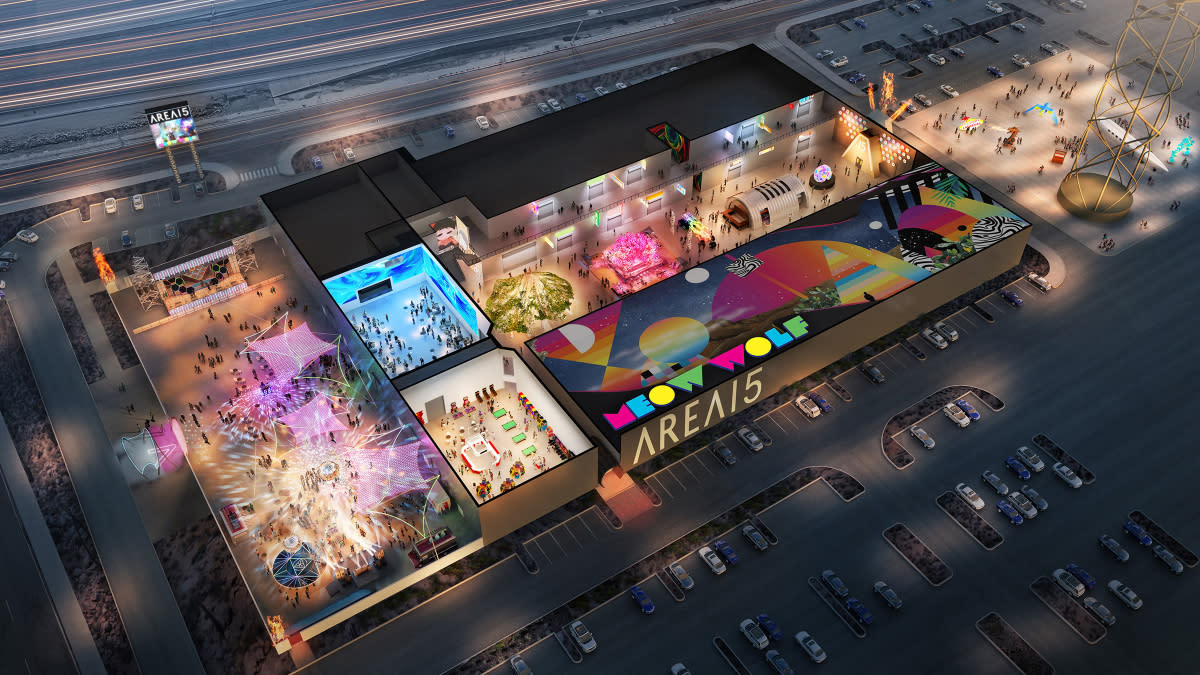 This is an artist's rendering of what the finished flexible meeting spaces at AREA 15 in Las Vegas will look like.