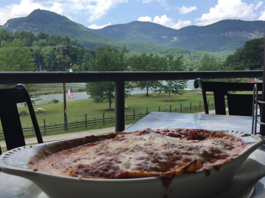 Lasagna at La Strada in Lake Lure