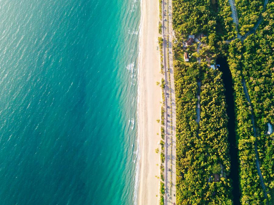 Aerial view of the beach at Hugh Taylor Birch State Park in Fort Lauderdale