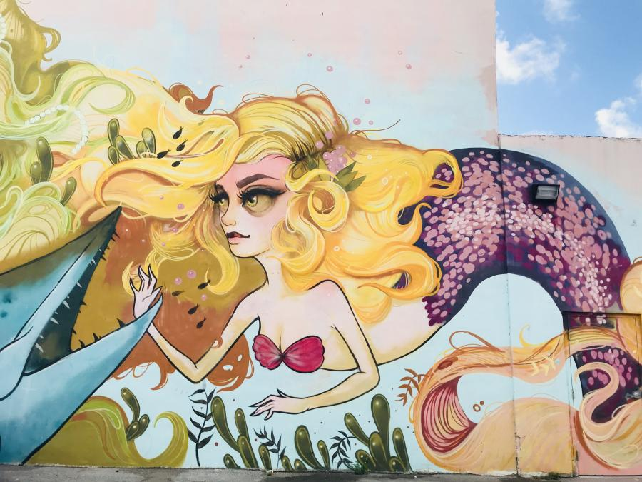 Mermaid mural from the Downtown Hollywood Mural Project
