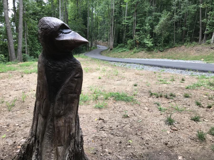 Purple Martin Wood Carving on the Greenway