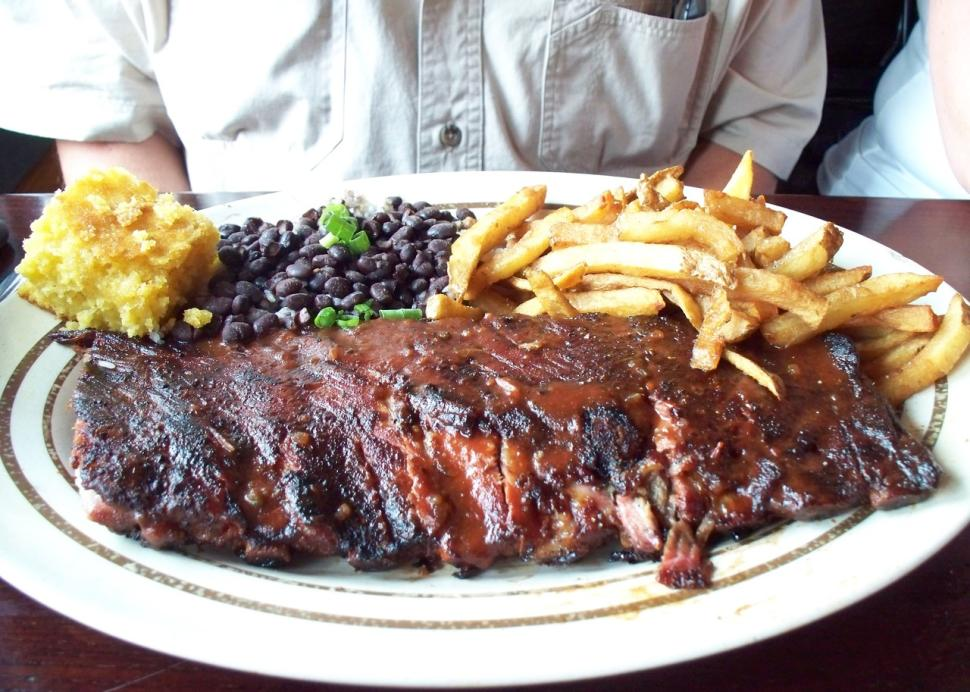 A rack of ribs at Dinosaur BBQ in Rochester, NY
