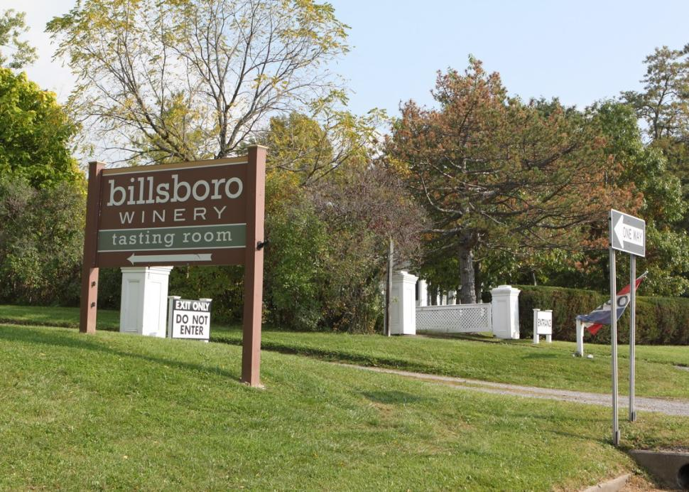 The sign by the road entrance to the Billsboro Tasting Room at Rose Hill