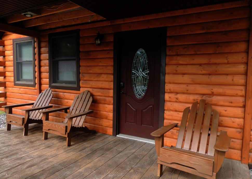 Relax and unwind on the covered porch.