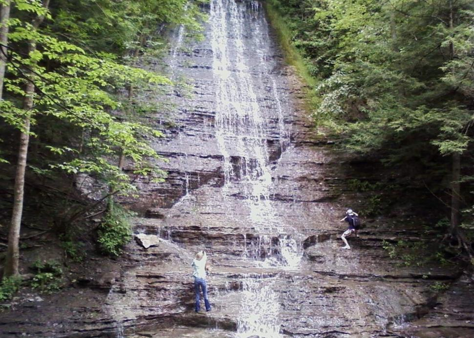The 62 foot tall waterfall at Grimes Glen County Park