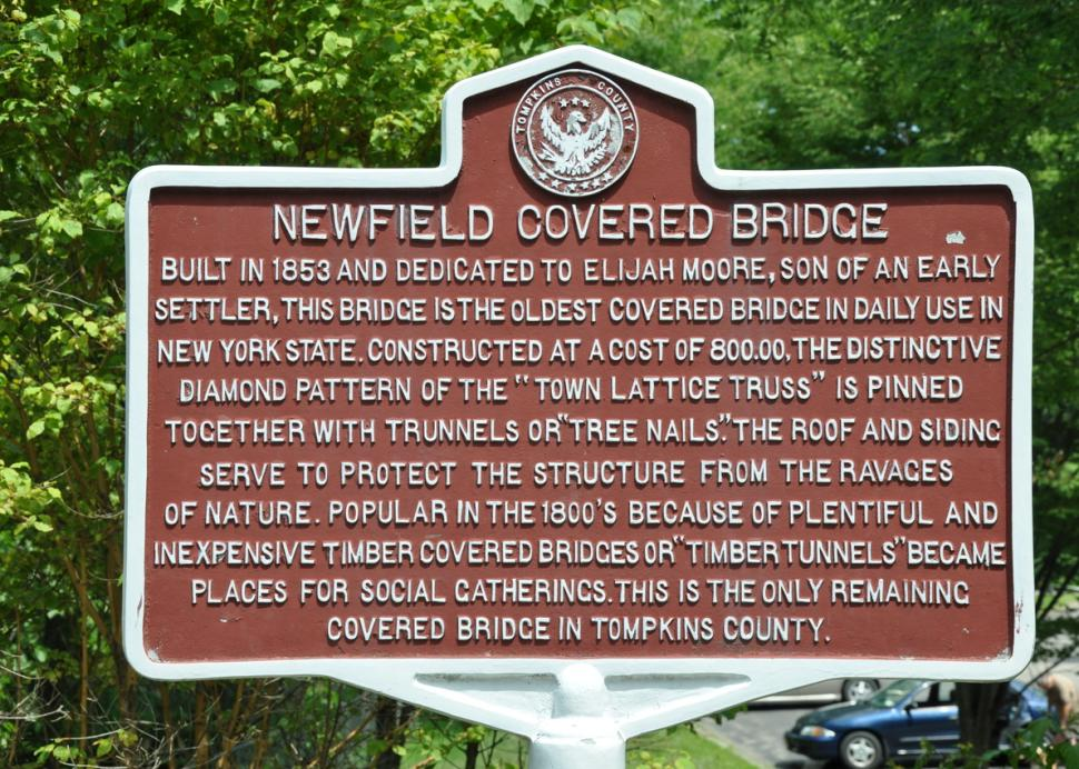 Newfield Covered Bridge sign