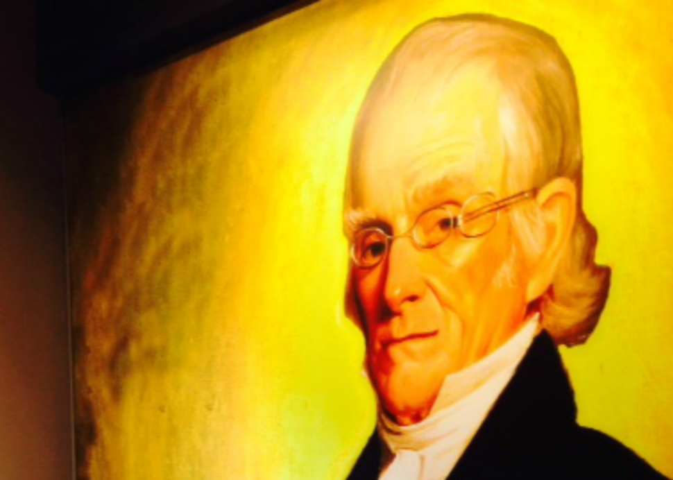 Portrait of Rochester's Founder Nathaniel Rochester at Founders Cafe