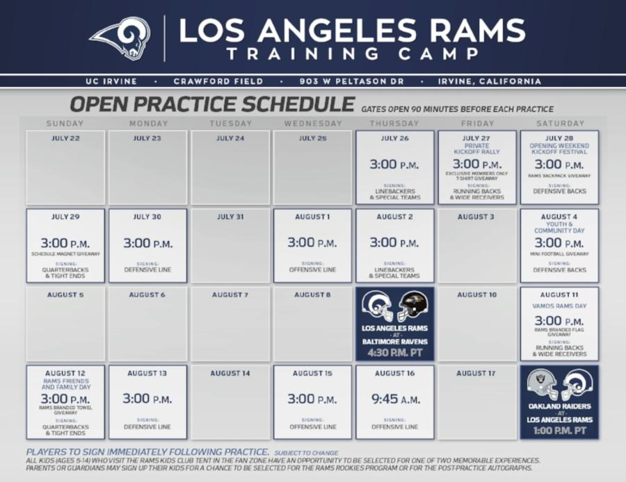 LA Rams Training Camp Schedule