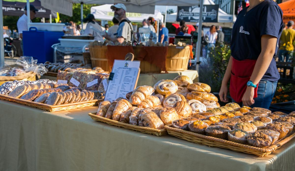 Pastries for sale at the downtown Bloomington farmers market