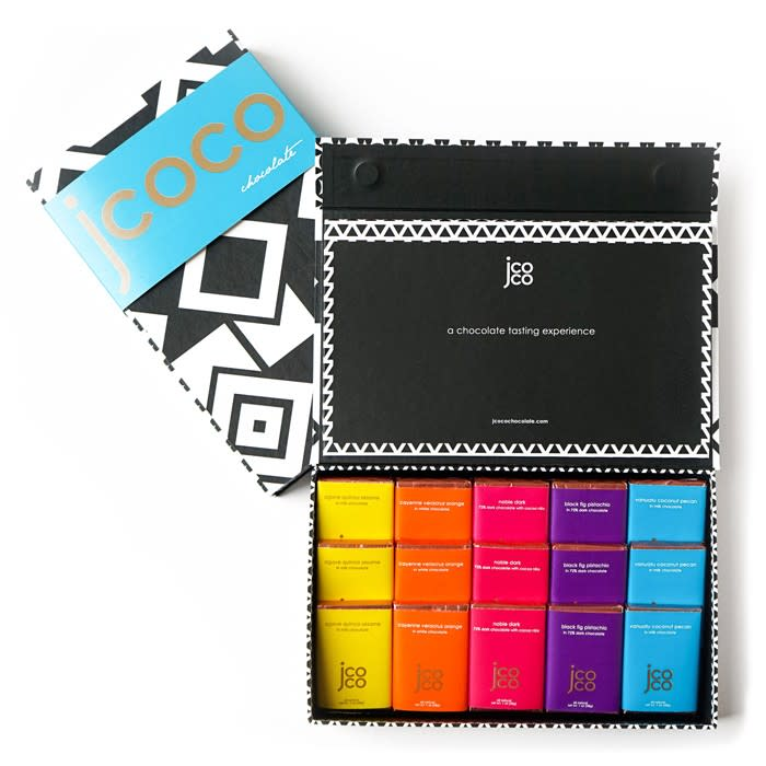 Colorful open box featuring chocolate bars