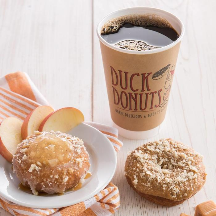 Coffee and donuts at Duck Donuts in Irvine