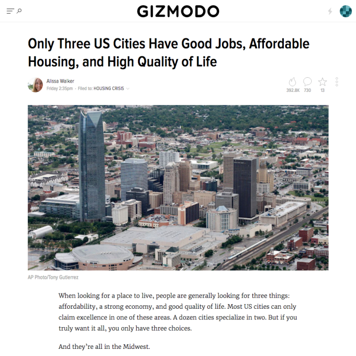 Top Three Cities - Gizmodo Article