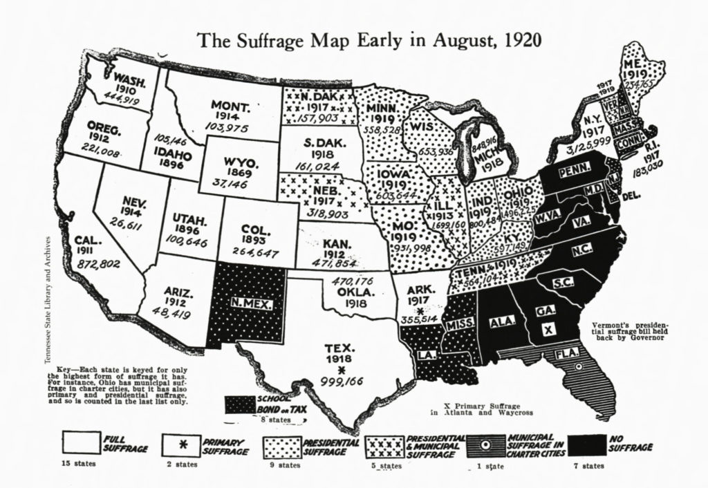 Suffrage Map Early in August 1920
