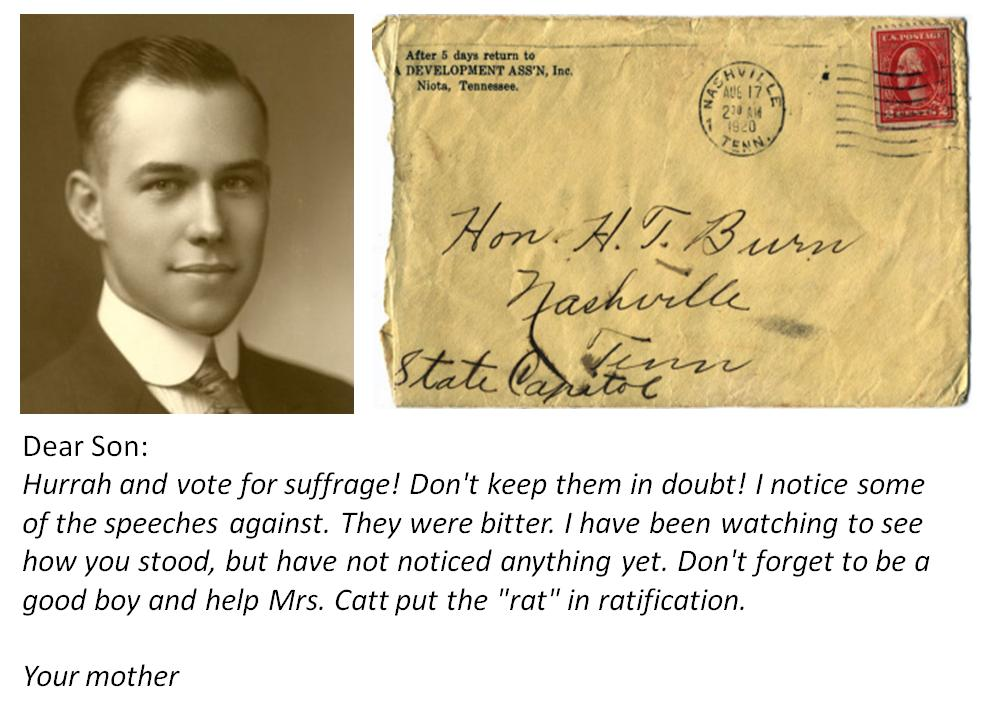 Letter from Febb Burn to her son Harry Burn in support of women's suffrage
